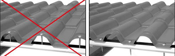 Два варианта крепления металлочерепицы. Слева - запрещенный способ крепления, справа - правильный.