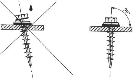 Саморез, установленный с отклонением, будет способствовать проникновению влаги из-за неплотного прилегания уплотнительной шайбы